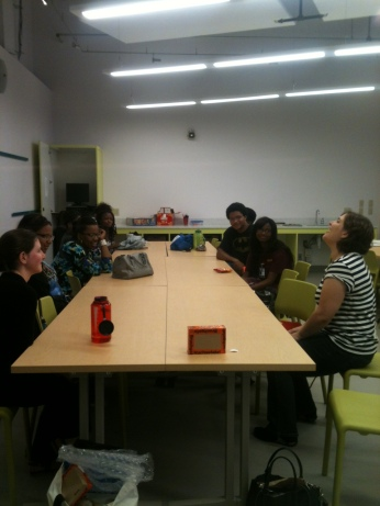 Esther Steinbrecher from Berlin, Germany visit with the Teens Make History in August 2014.