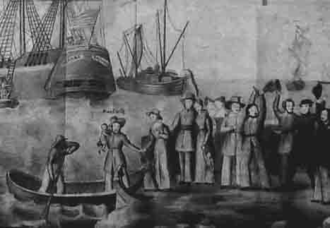 Giessen Emigration Society boarding the Medora at Bremen in July 1834