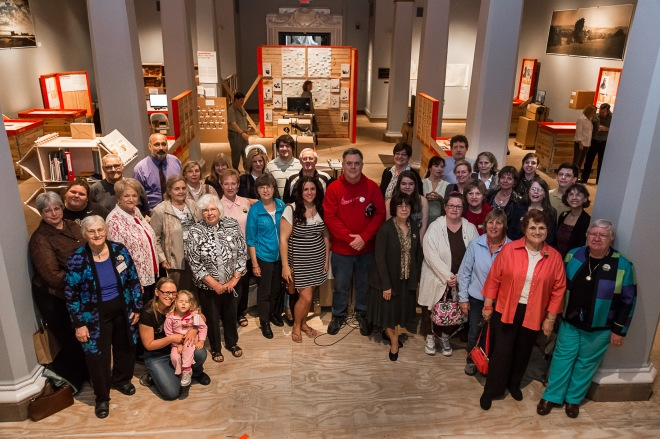 Photograph of the descendants of Giessen Emigration Society members taken in the Utopia Exhibit on April 19, 2015 by Folker Winklemann.